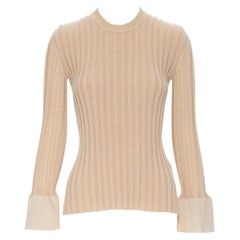 runway OLD CELINE PHOEBE PHILO beige ribbed knit flared cuff sweater top XS
