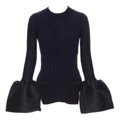 runway OLD CELINE PHOEBE PHILO black ribbed knit dual pocket flared cuff top XS