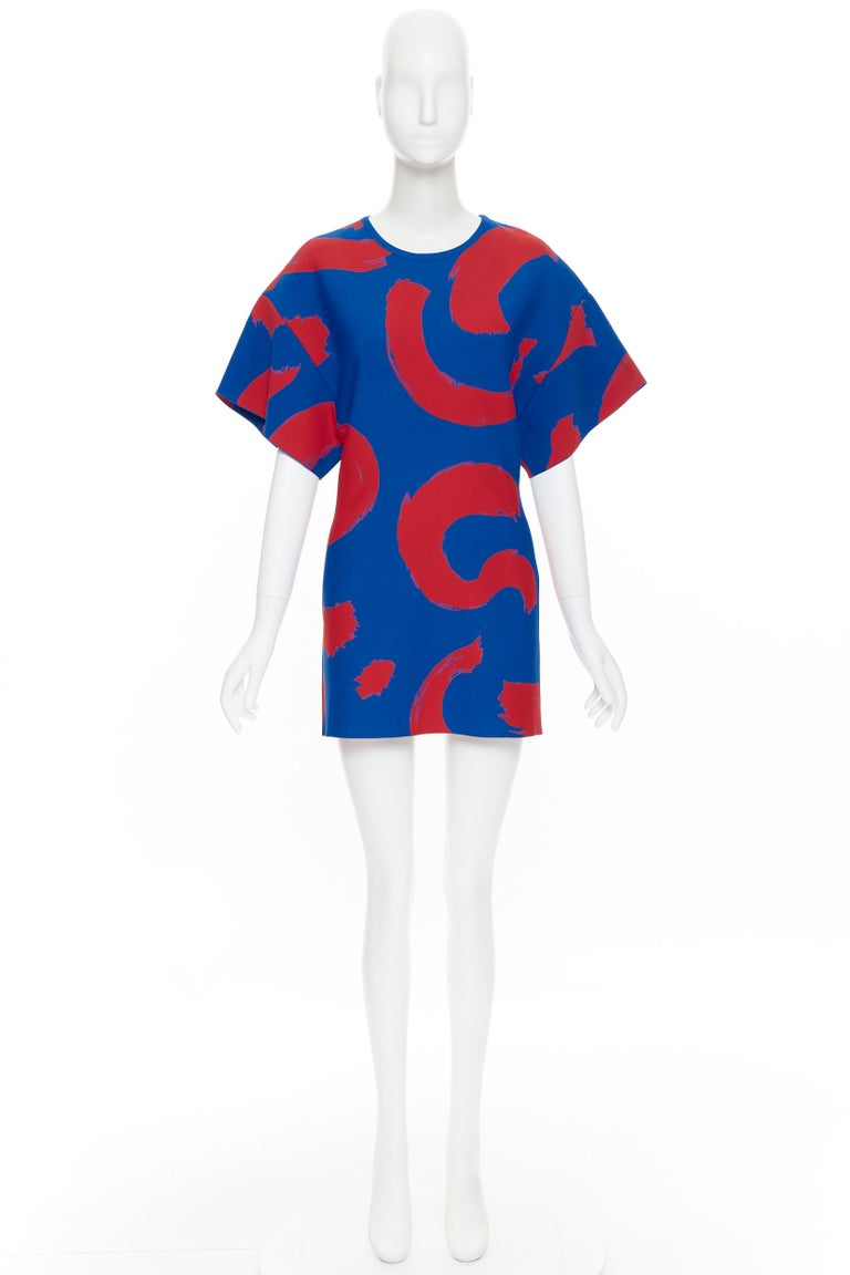 Red runway OLD CELINE SS14 red blue pop brush stroke oversized tunic tunic top L
