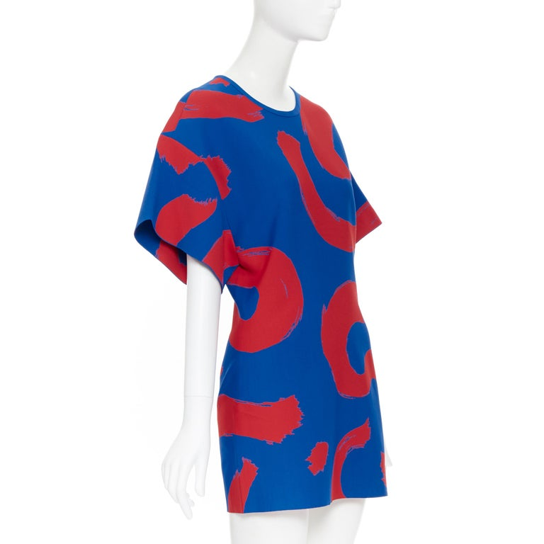 runway OLD CELINE SS14 red blue pop brush stroke oversized tunic tunic top L In Excellent Condition In Hong Kong, NT