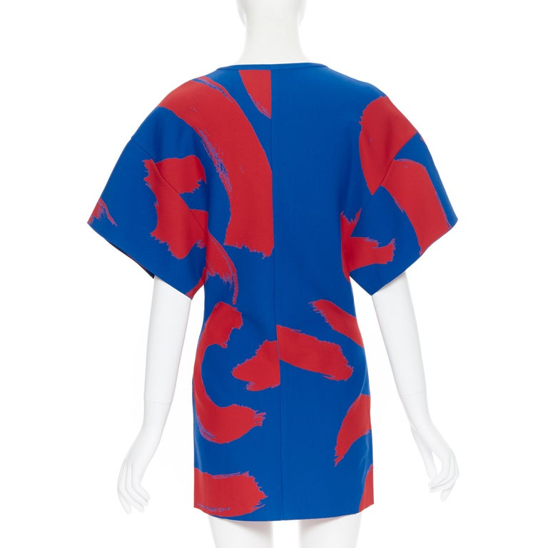 runway OLD CELINE SS14 red blue pop brush stroke oversized tunic tunic top L 1