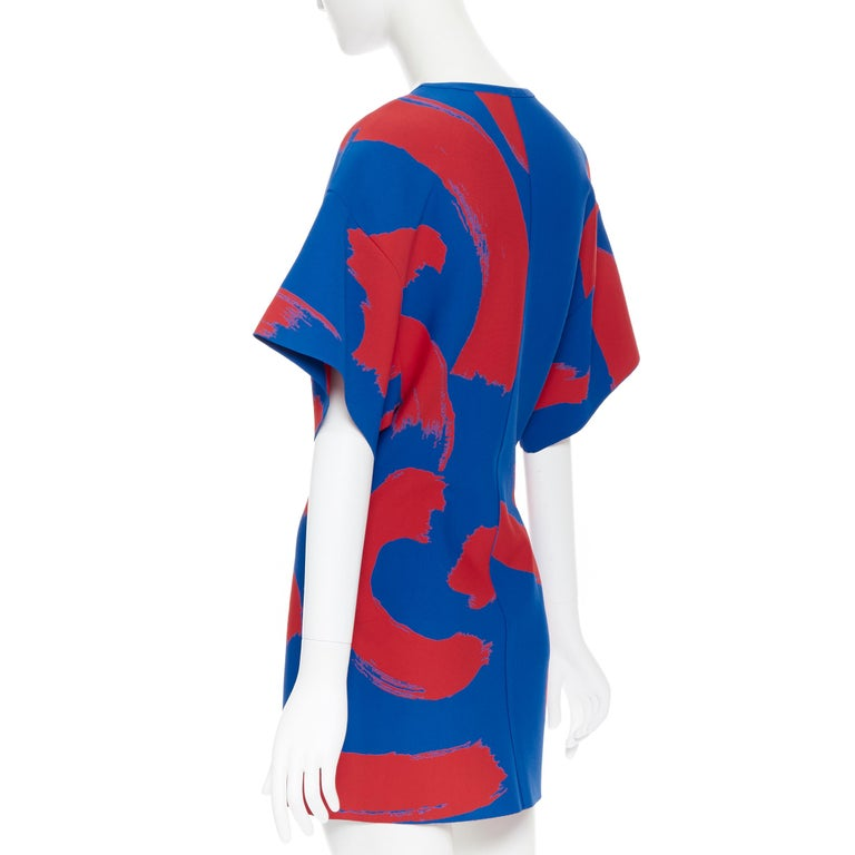 runway OLD CELINE SS14 red blue pop brush stroke oversized tunic tunic top L 2