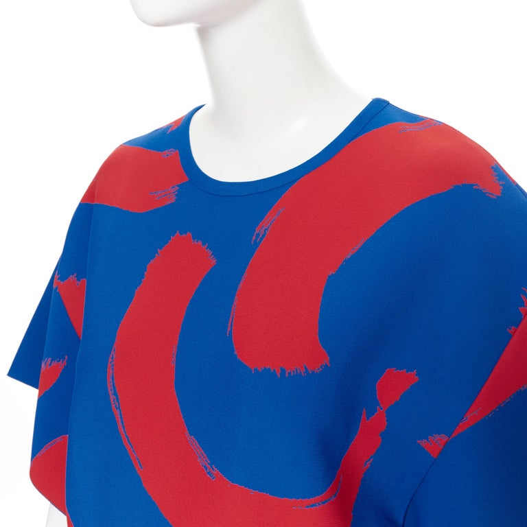 runway OLD CELINE SS14 red blue pop brush stroke oversized tunic tunic top L 3
