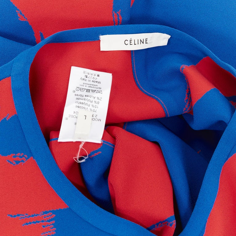 runway OLD CELINE SS14 red blue pop brush stroke oversized tunic tunic top L 4
