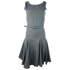 Runway Oscar De La Renta Grey Wool Sleeveless Dress, Size 2