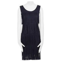 runway PLEATS PLEASE Issey Miyake navy pleated fringe tier flapper dress JP3