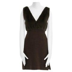 runway PRADA AW09 green mink fur bust V-neck wool skirt mini dress IT40 S