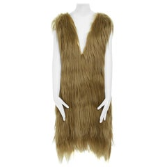 runway PRADA gold genuine long goat fur leather trimmed V-neck shift dress IT38