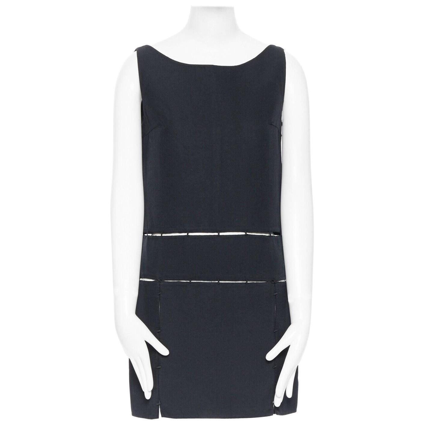 runway PRADA Vintage AW98 black wool silk suspended panel dress S IT40 US4 UK8