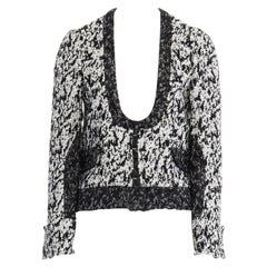 runway PROENZA SCHOULER SS11 white black boucle hook eye cropped jacket US4 S