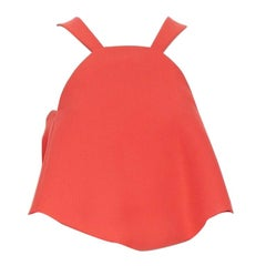 runway ROSIE ASSOULIN red a-line halter-neck cropped top circular cut US0 XS