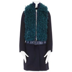 runway SACAI AW13 navy blue wool faux fur body belted coat jacket JP2 M