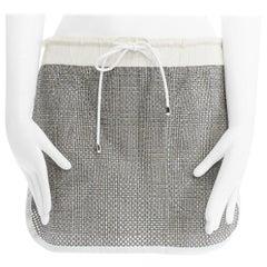 runway SACAI grey perforated checked cotton curved hem drawstring mini skirt JP2