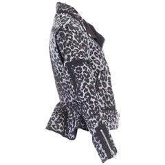 runway SACAI SS13 grey leopard cupro ruffle flared hem biker jacket JP2 M