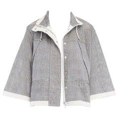 runway SACAI SS14 grey prince of wales perforated flared back swing jacket JP1 S