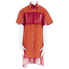 runway SACAI SS14 orange polyester panel pleated collar cotton shirt dress JP1 S