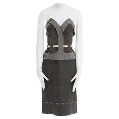runway STELLA MCCARTNEY grey corset reverse deconstructed denim dress IT40 S