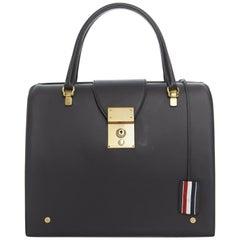 runway THOM BROWNE Mrs. Thom black leather gold clasp lock top handle doctor bag