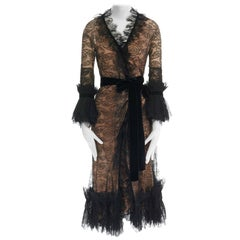 runway TOM FORD AW11 black lace pleated ruffle cuff velvet belted wrap dress S