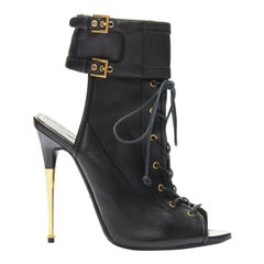 runway TOM FORD SS14 black gold metal stiletto heel lace-up open toe buckle EU40
