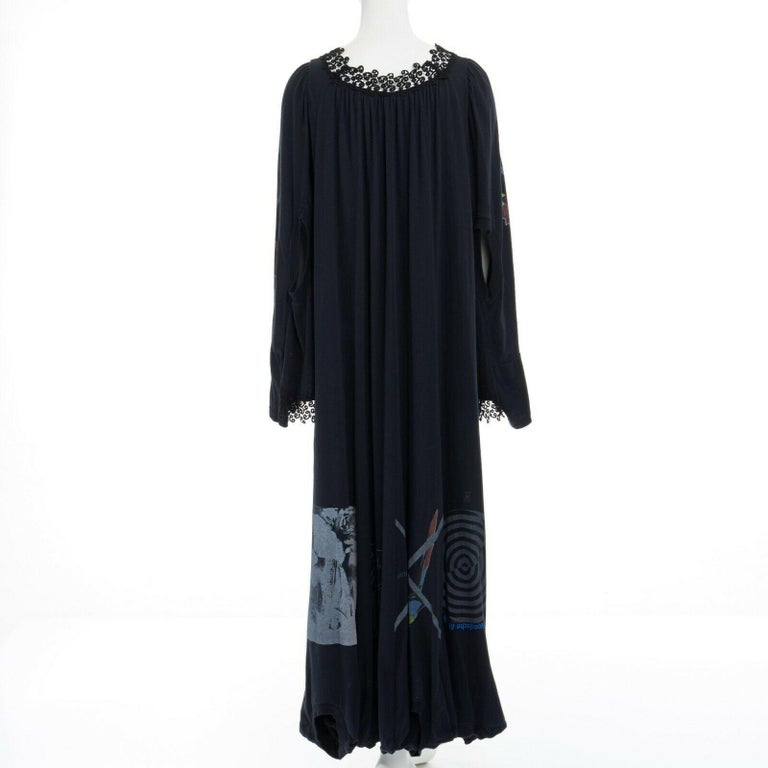 runway UNDERCOVER black deconstructed cotton t-shirt lace trimmed maxi dress JP1  UNDERCOVER FROM THE SPRING SUMMER 2006 RUNWAY 100% cotton. Black washed cotton. Deconstructed and reconstructed from many printed t-shirts. Scoop neckline. Lace