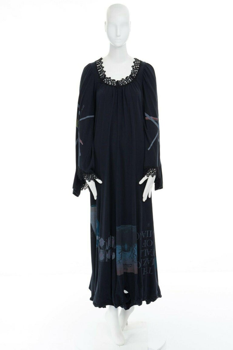 runway UNDERCOVER black deconstructed cotton t-shirt lace trimmed maxi dress JP1 In Excellent Condition For Sale In Hong Kong, NT
