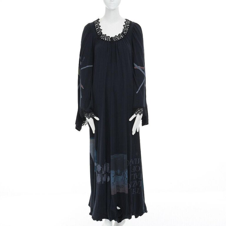 Women's runway UNDERCOVER black deconstructed cotton t-shirt lace trimmed maxi dress JP1 For Sale