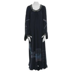 runway UNDERCOVER black deconstructed cotton t-shirt lace trimmed maxi dress JP1