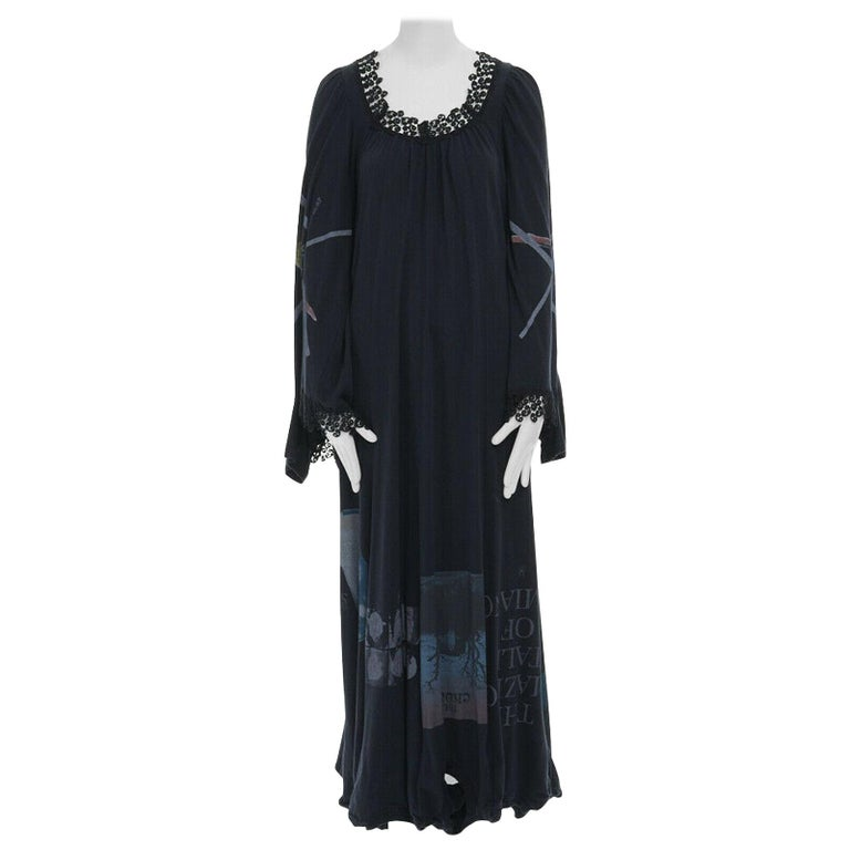runway UNDERCOVER black deconstructed cotton t-shirt lace trimmed maxi dress JP1 For Sale