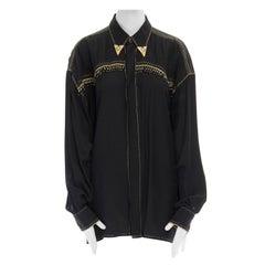 runway VERSACE AW92 black fringe beaded gold metal collar oversized shirt top
