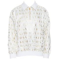 runway VERSACE KITH white gold monogram Medusa zip collar popover shell IT52