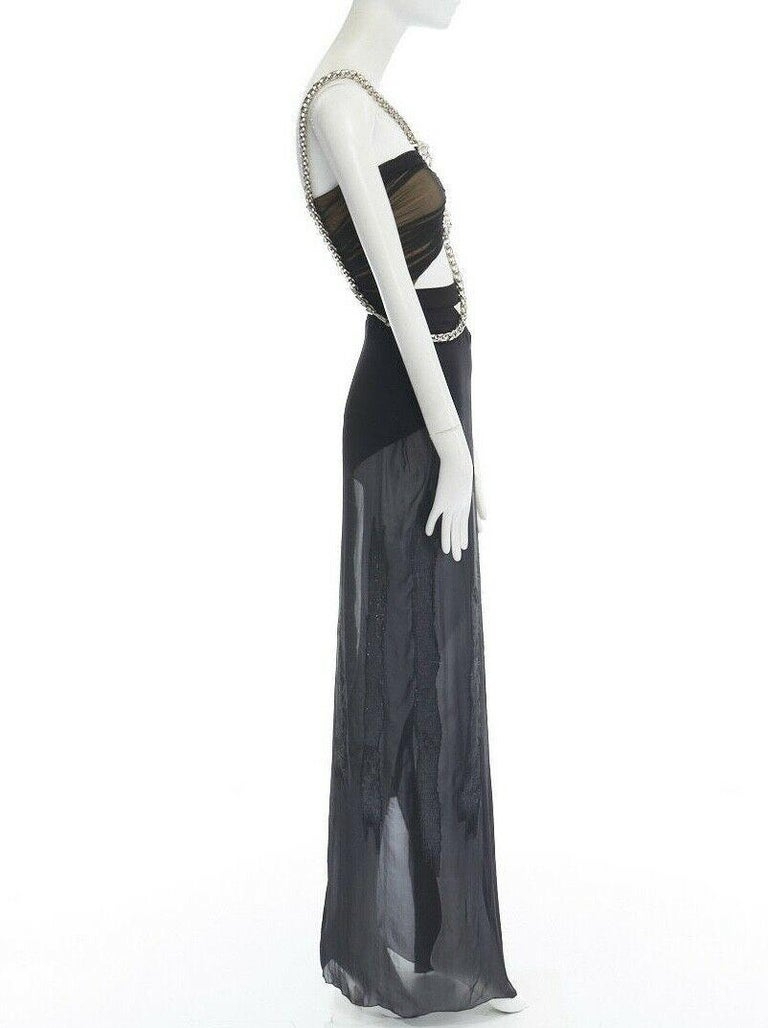 Women's runway VERSACE SS14 black silk silver Medusa chain harness cut out gown IT38 XS For Sale