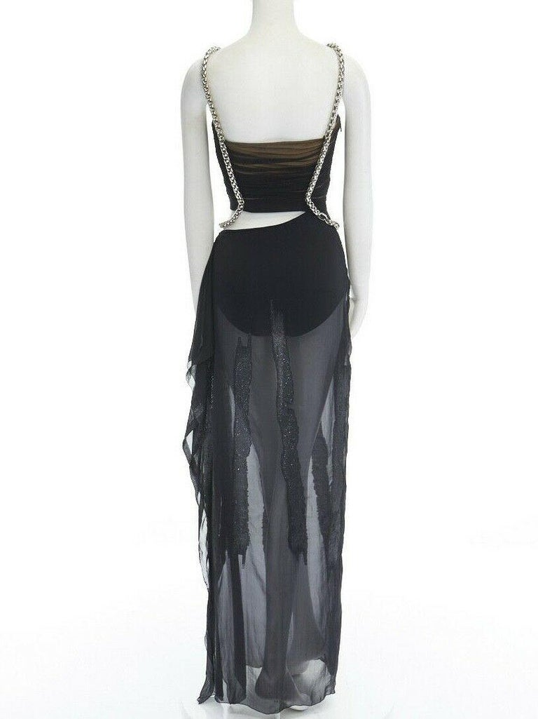 runway VERSACE SS14 black silk silver Medusa chain harness cut out gown IT38 XS For Sale 1