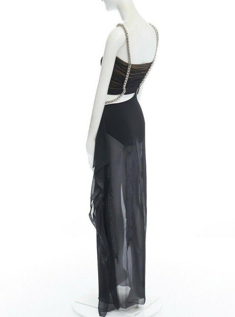 runway VERSACE SS14 black silk silver Medusa chain harness cut out gown IT38 XS For Sale 2
