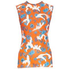 runway VERSACE SS19 orange blue floral sheer devore burnout sleeveless top IT38