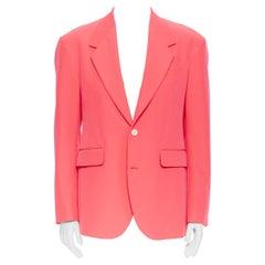 runway VERSACE SS19 shocking neon pink wide lapel flap pocket blazer jacket EU48