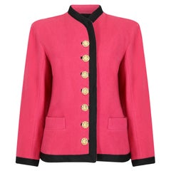 Runway Worn Yves Saint Laurent 1994 Pink Wool Trimmed Jacket