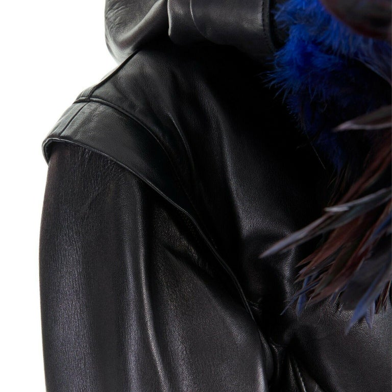runway YOHJI YAMAMOTO AW05 black padded leather oversized feather hood down M For Sale 5