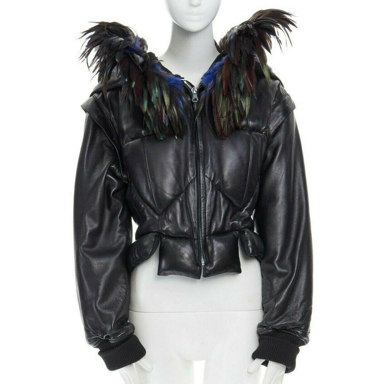 Black runway YOHJI YAMAMOTO AW05 black padded leather oversized feather hood down M For Sale
