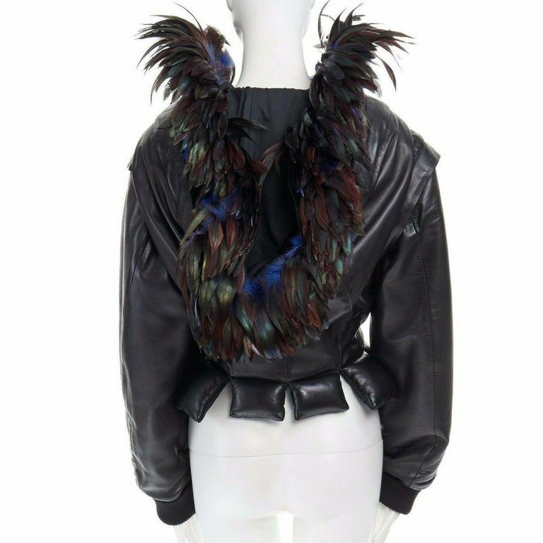 runway YOHJI YAMAMOTO AW05 black padded leather oversized feather hood down M For Sale 2