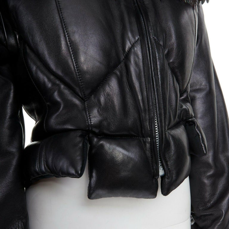 runway YOHJI YAMAMOTO AW05 black padded leather oversized feather hood down M For Sale 4