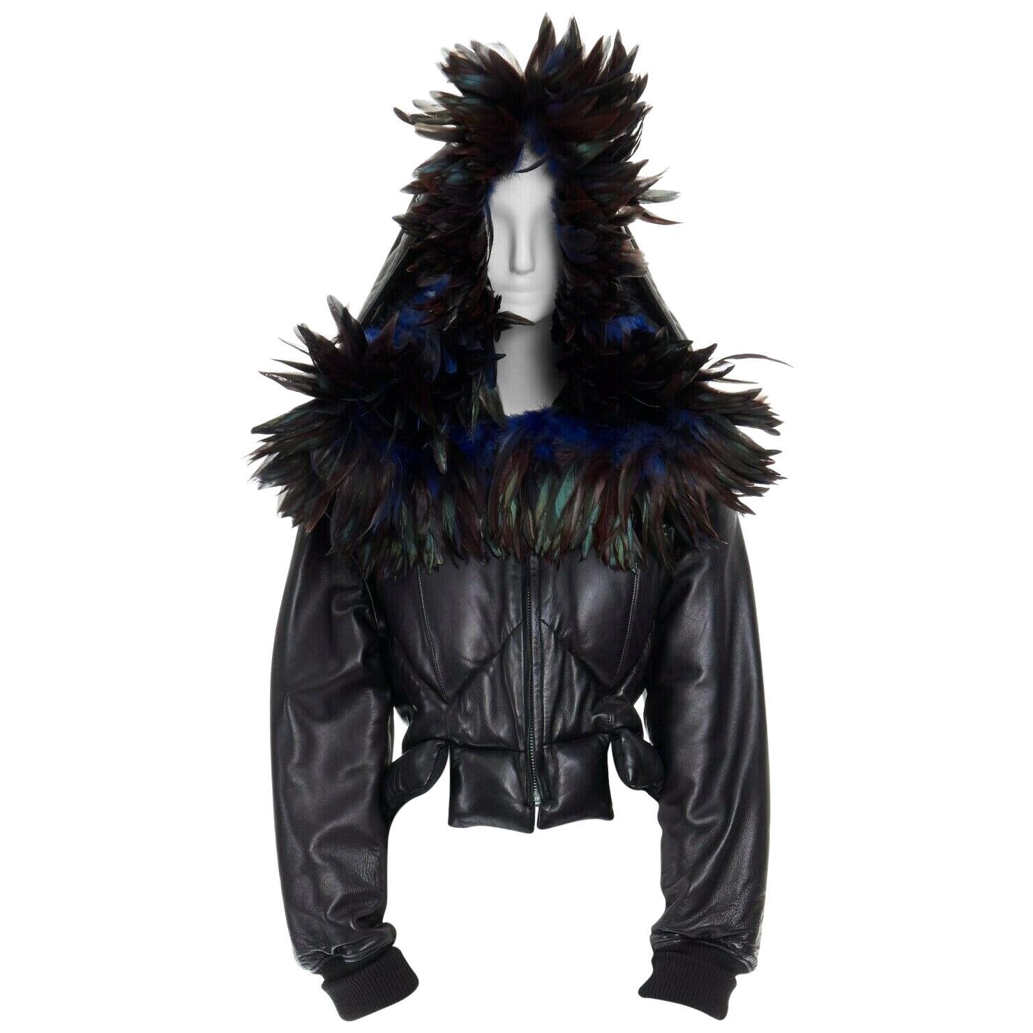 runway YOHJI YAMAMOTO AW05 black padded leather oversized feather hood down M