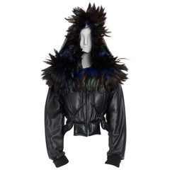 runway YOHJI YAMAMOTO AW05 black padded leather oversized feather hood down M