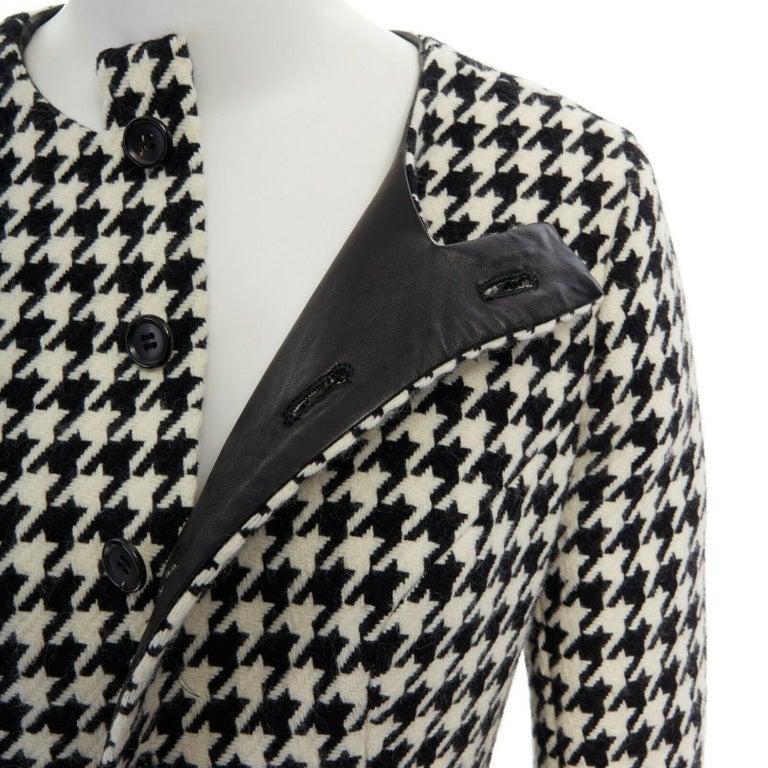 runway YOHJI YAMAMOTO AW2003 black houndstooth fringe angora wool jacket M JP2 For Sale 5