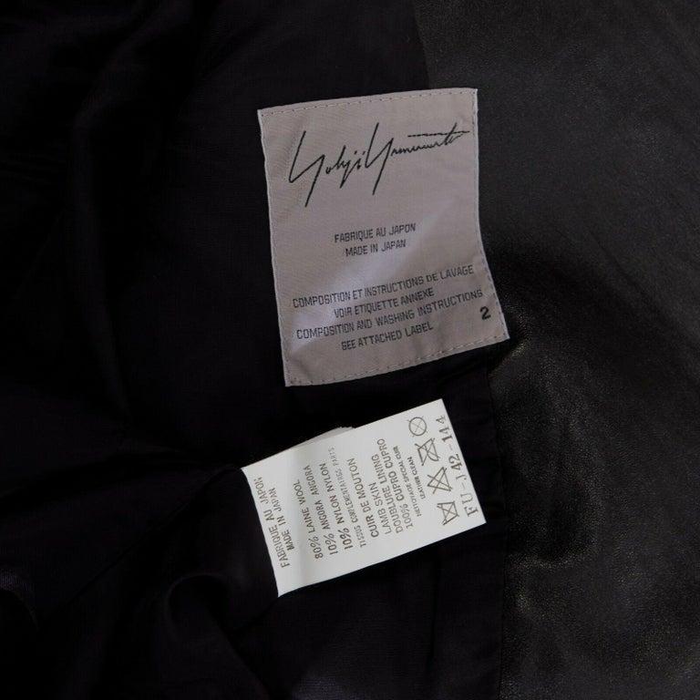 runway YOHJI YAMAMOTO AW2003 black houndstooth fringe angora wool jacket M JP2 For Sale 6