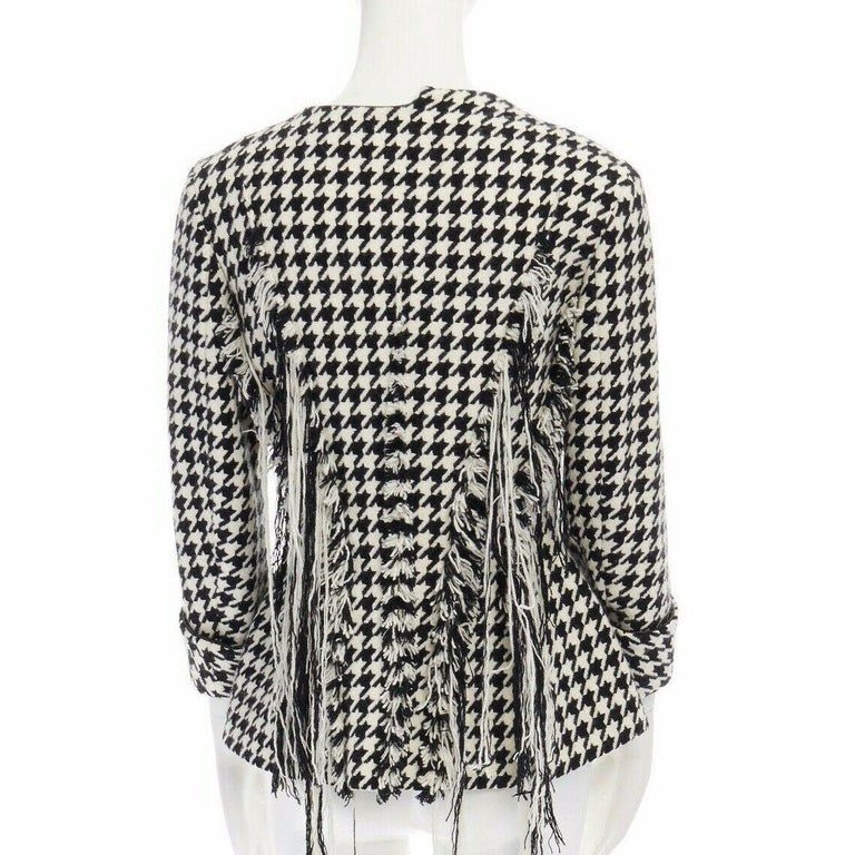 runway YOHJI YAMAMOTO AW2003 black houndstooth fringe angora wool jacket M JP2 In Excellent Condition For Sale In Hong Kong, NT
