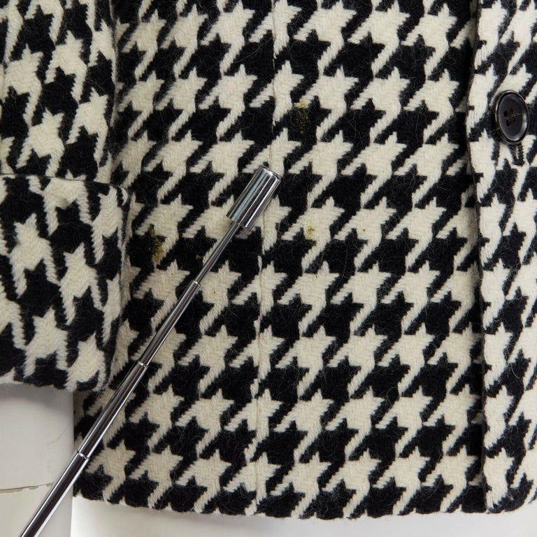 runway YOHJI YAMAMOTO AW2003 black houndstooth fringe angora wool jacket M JP2 For Sale 2