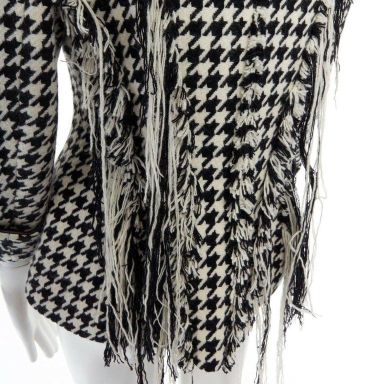 runway YOHJI YAMAMOTO AW2003 black houndstooth fringe angora wool jacket M JP2 For Sale 3