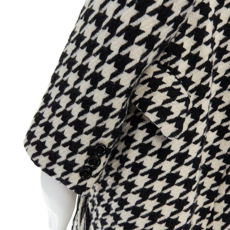 runway YOHJI YAMAMOTO AW2003 black white houndstooth wool fringe jacket coat JP2 For Sale 5
