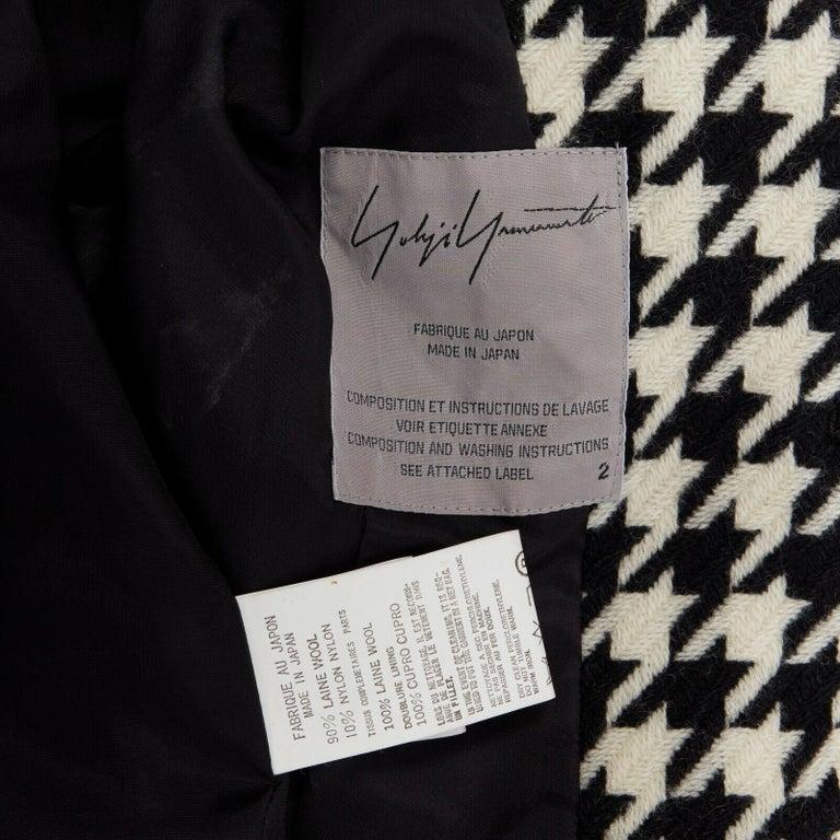 runway YOHJI YAMAMOTO AW2003 black white houndstooth wool fringe jacket coat JP2 For Sale 6